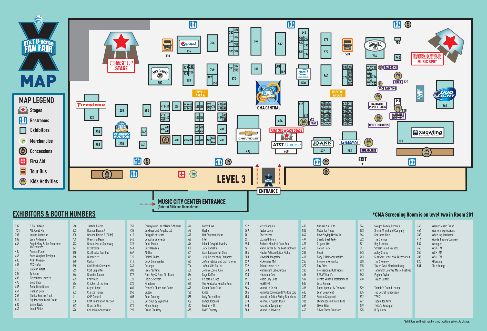 2014 CMA Fest, Fan Fair X, Map